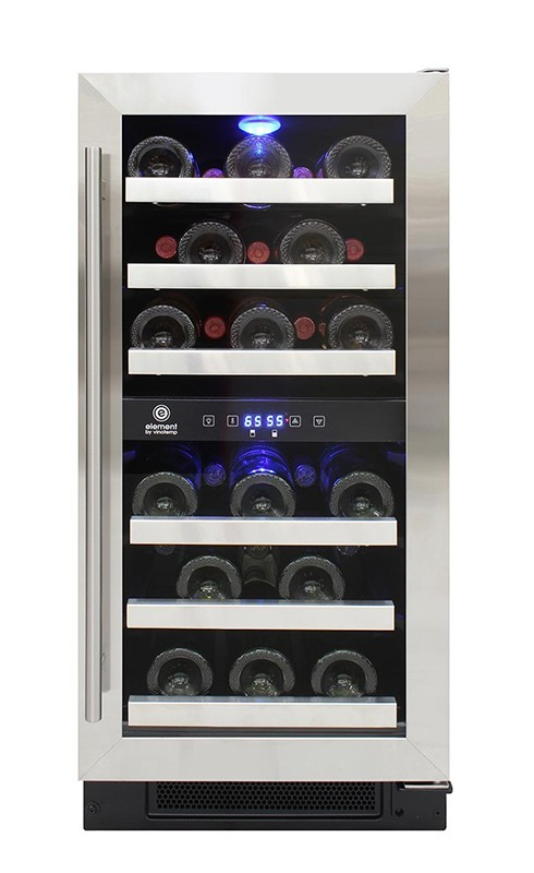 short wine fridge with stainless racks