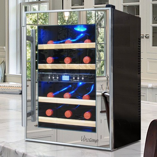 mirrored wine cooler