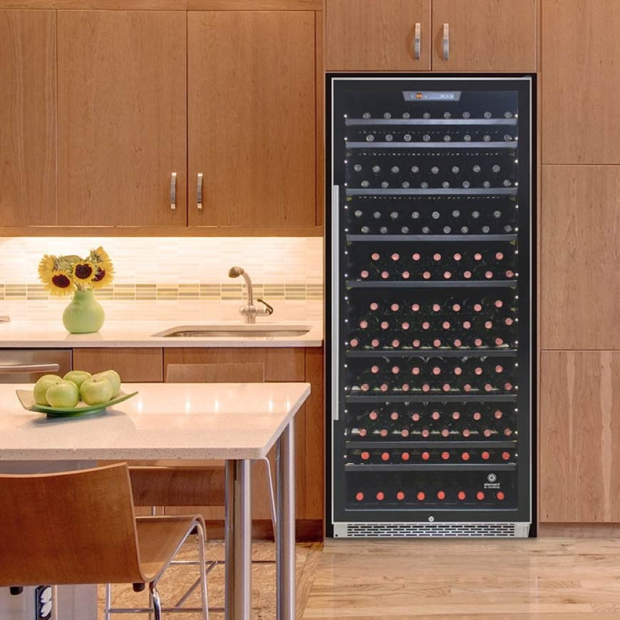 black wine cooler with stainless trim