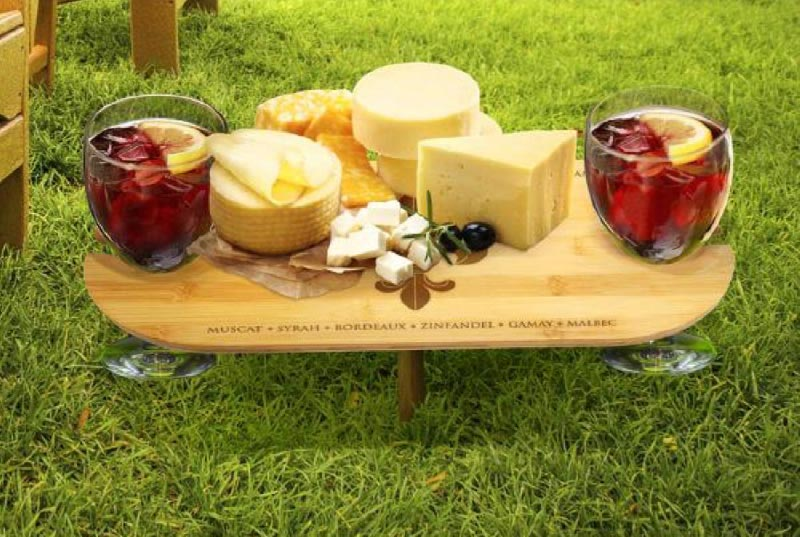 picnic with wine and cheese
