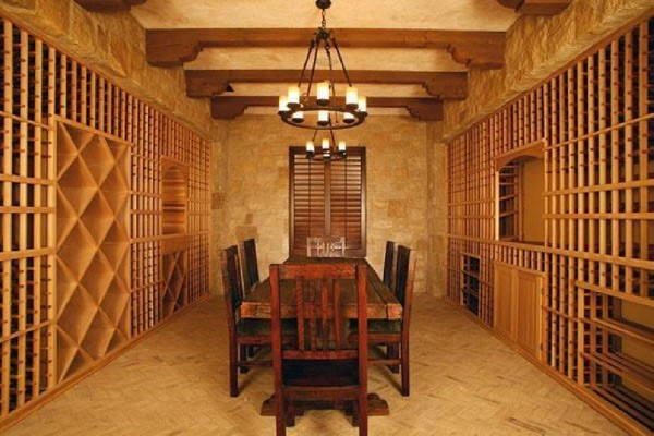 cellar with wood table