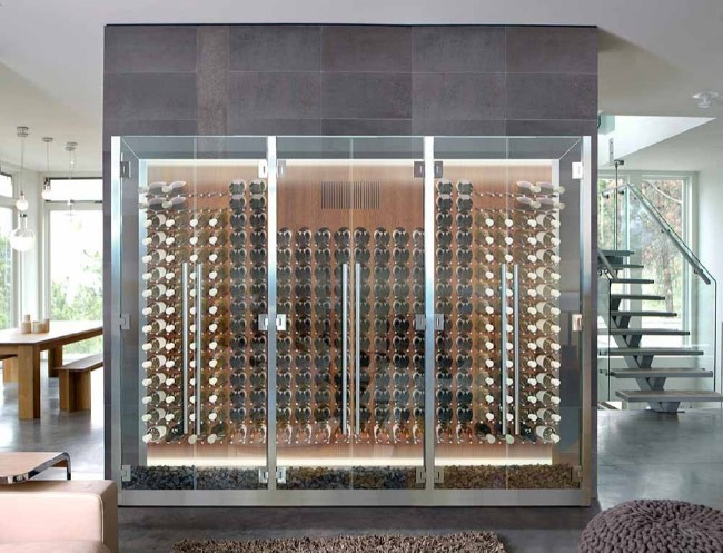 wine cabinet with suspended racks