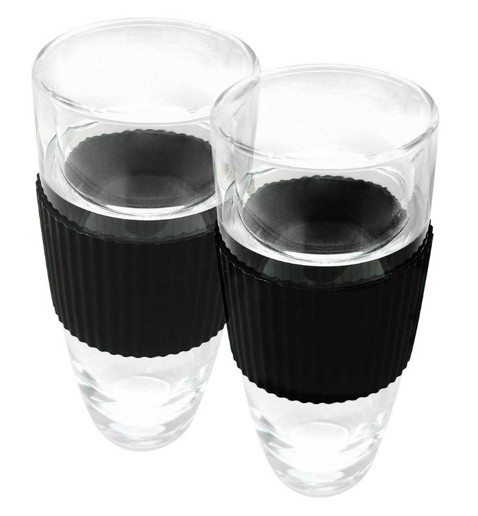 fluted tumblers with black grip