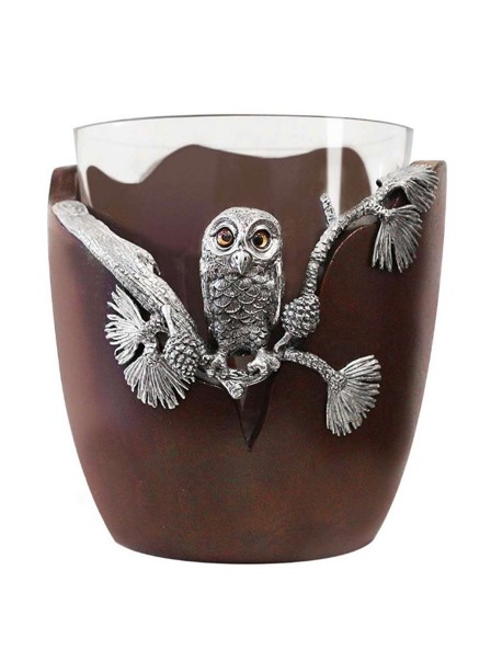 wood and glass bucket with owl