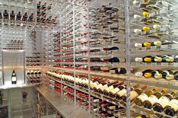 cellar with acrylic racking