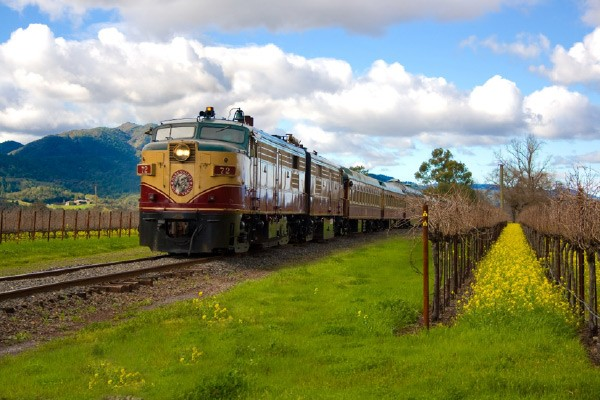 train through vineyard