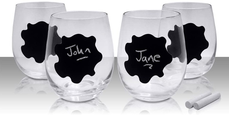 four writable stemless wine glasses