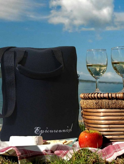 picnic with black wine bag