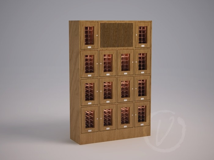 Custom 14 Cubicle Wine Locker with Cooling System Thumbnail 2