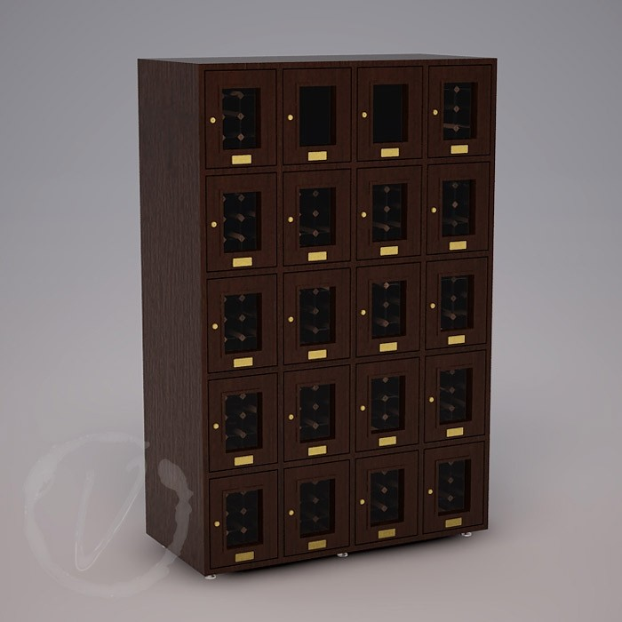 Custom 20 Cubicle Wine Locker - Dark Brown Thumbnail 2