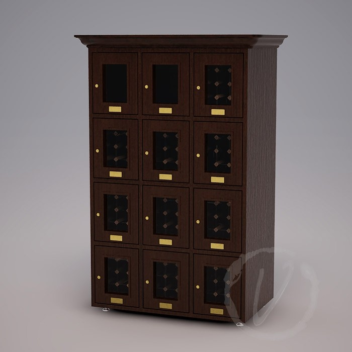 Custom 12 Cubicle Wine Locker (Option 1) - Dark Brown Thumbnail 2