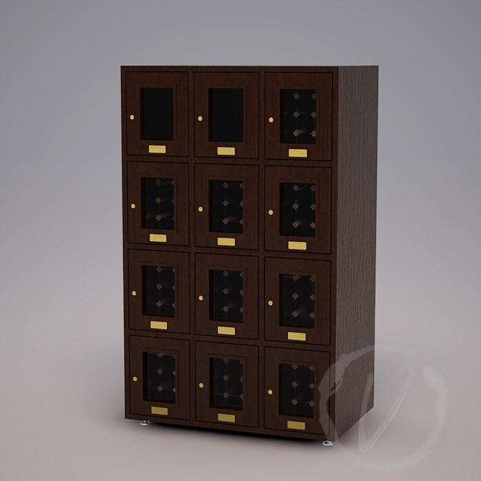 Custom 12 Cubicle Wine Locker (Option 2) - Dark Brown Thumbnail 2
