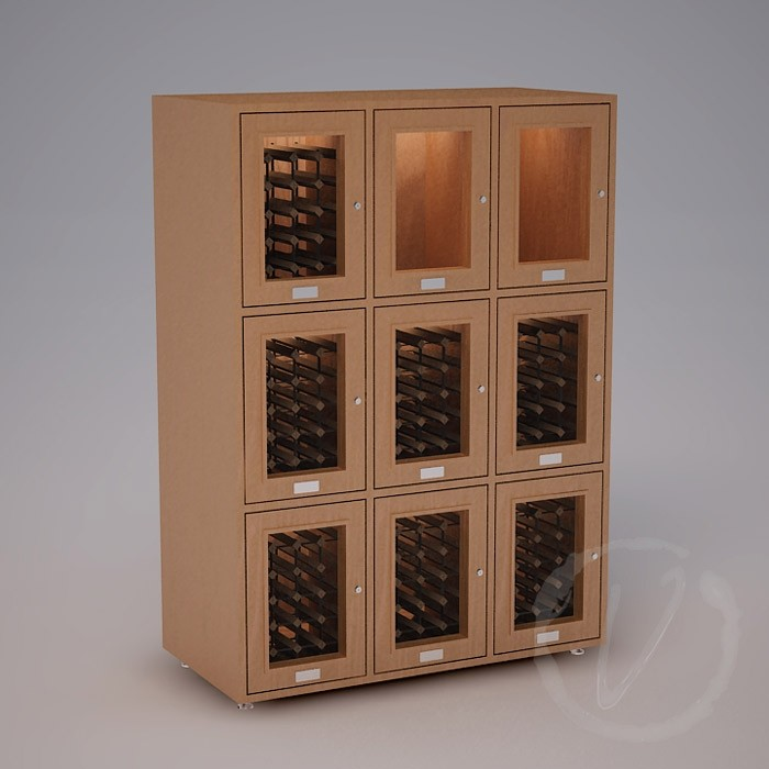 Custom 9 Cubicle Wine Locker (Option 2) - Natural Thumbnail 2
