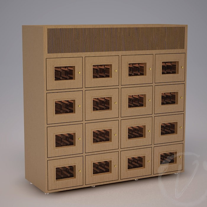 Custom 12 Cubicle Wine Locker with Top Vent Thumbnail 2