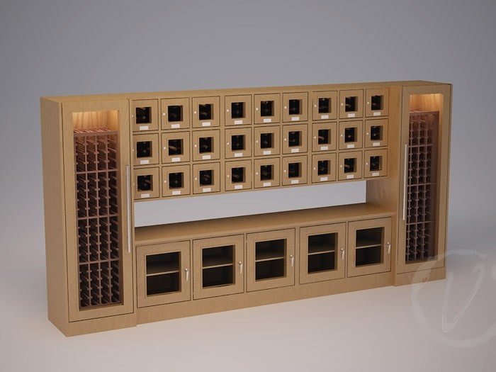 Custom Wine Locker with Countertop Thumbnail 2