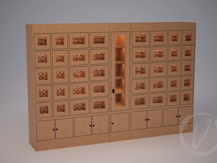 Custom Wine Locker with Middle Rack Display (Option 1) Thumbnail 2