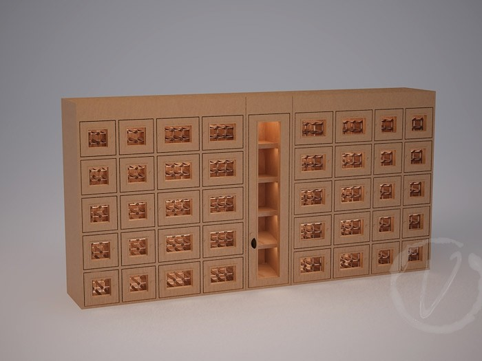 Custom Wine Locker with Middle Rack Display (Option 2) Thumbnail 2