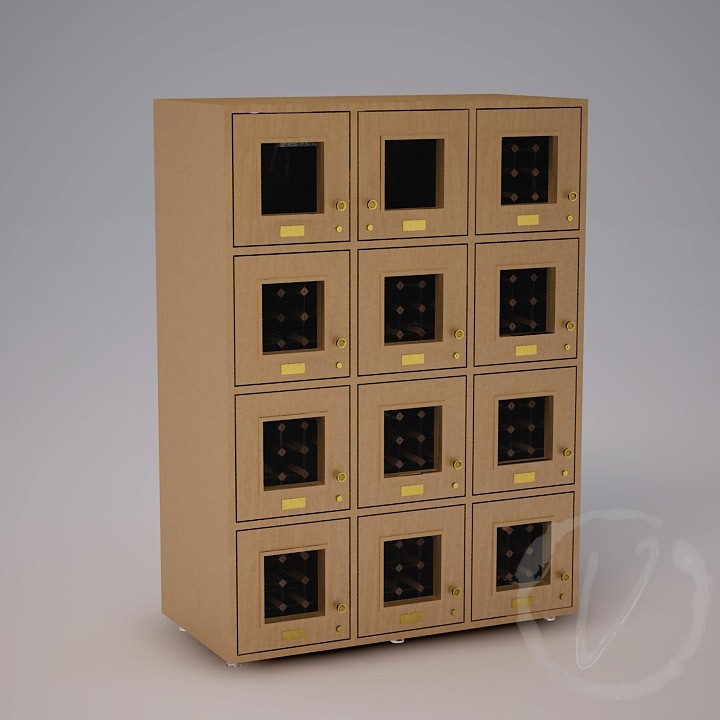 12 Cubicle Wine Locker - Natural Thumbnail 2