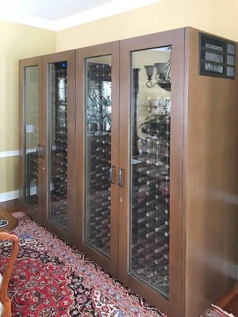 Custom 4-Door Glass Wine Cabinet Thumbnail 2
