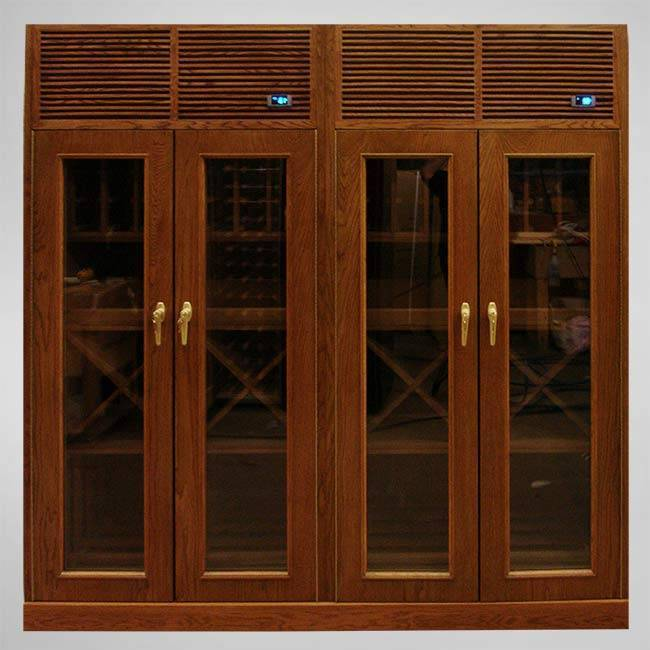 Custom 4-Door Wood & Glass Cabinets Thumbnail 2