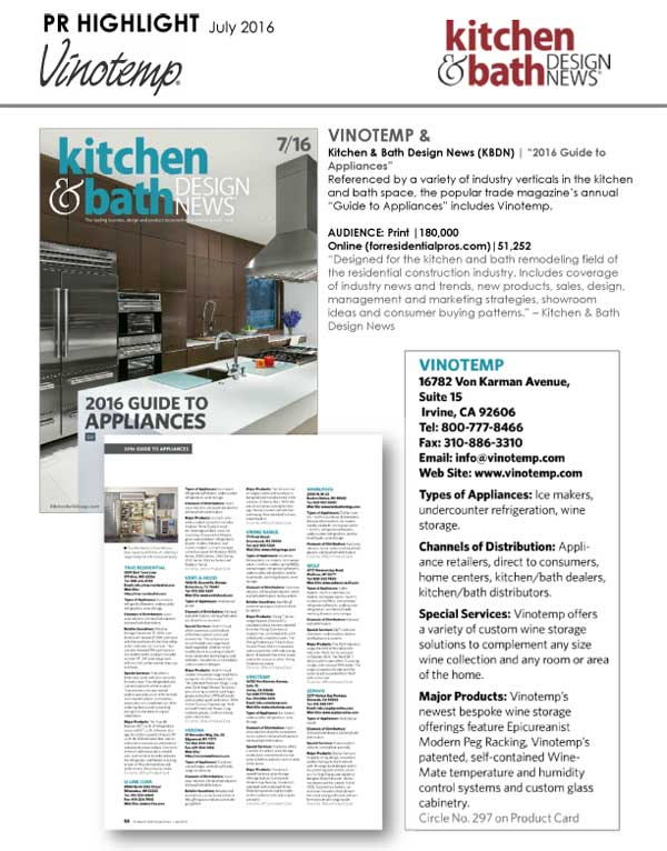 Vinotemp Featured in Kitchen and Bath Design News