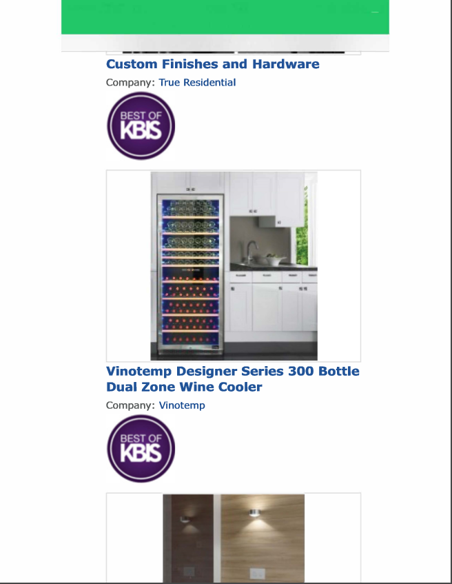 Vinotemp Designer Series 300 Bottle Dual Zone Wine Cooler in Best of KBIS 2016