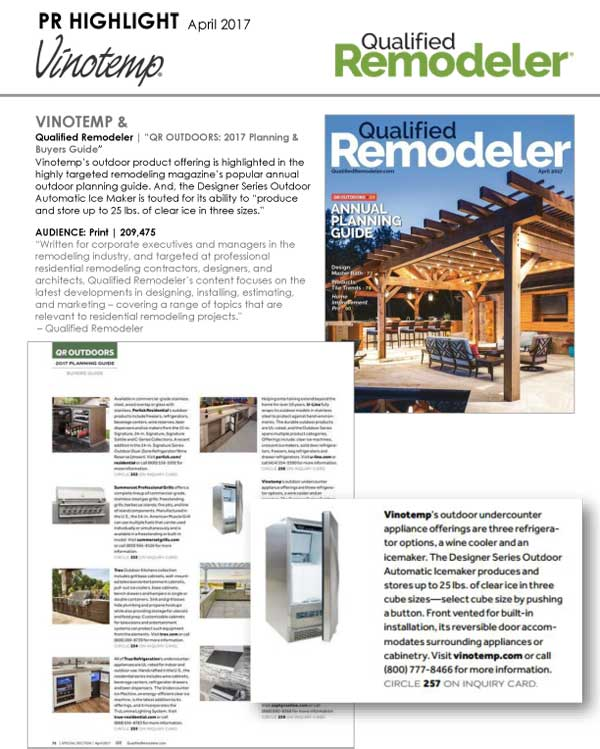 Vinotemp featured in Qualified Remodeler