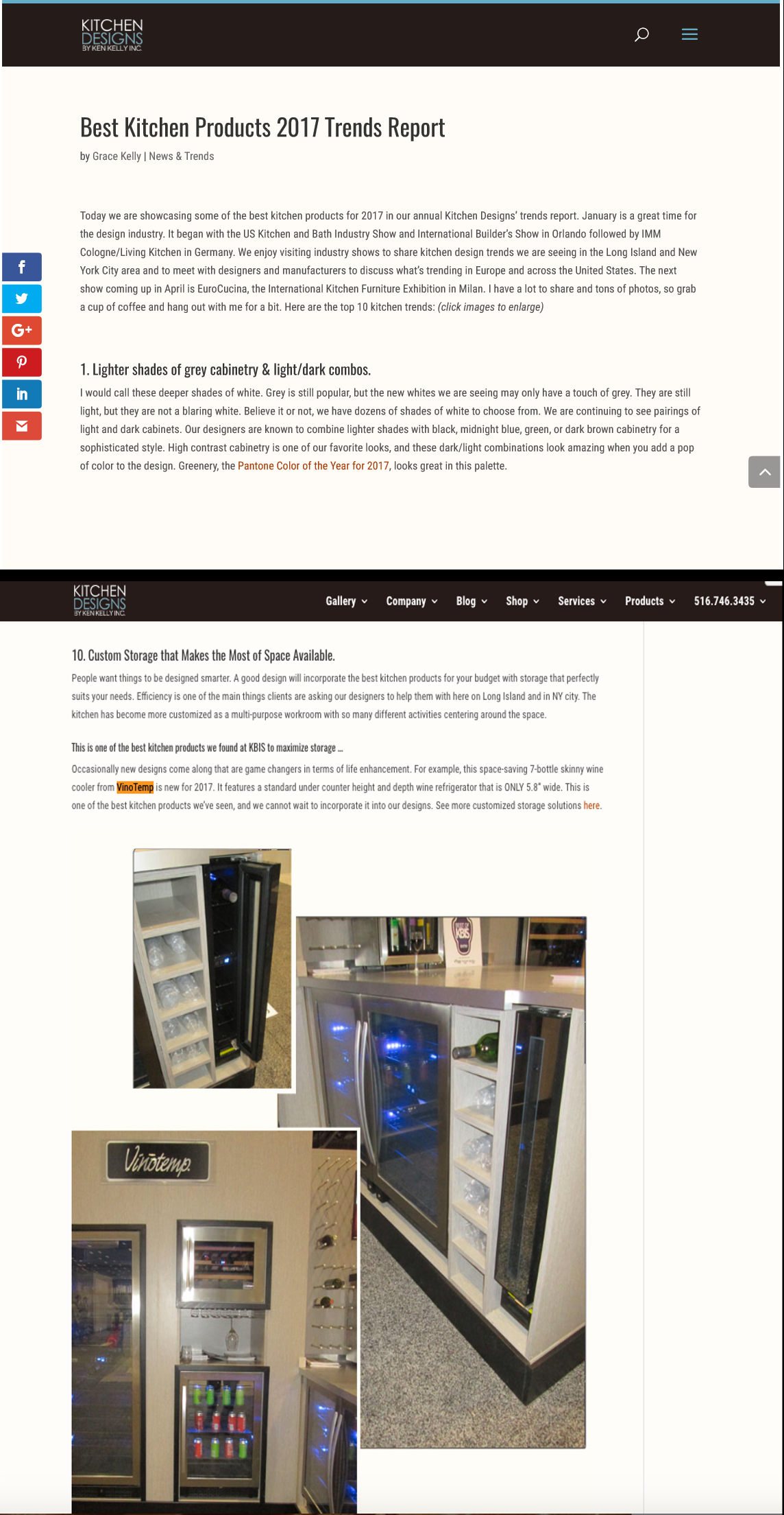 Vinotemp 7-Bottle Skinny Wine Cooler featured in the Best Kitchen Products 2017 Trend Report