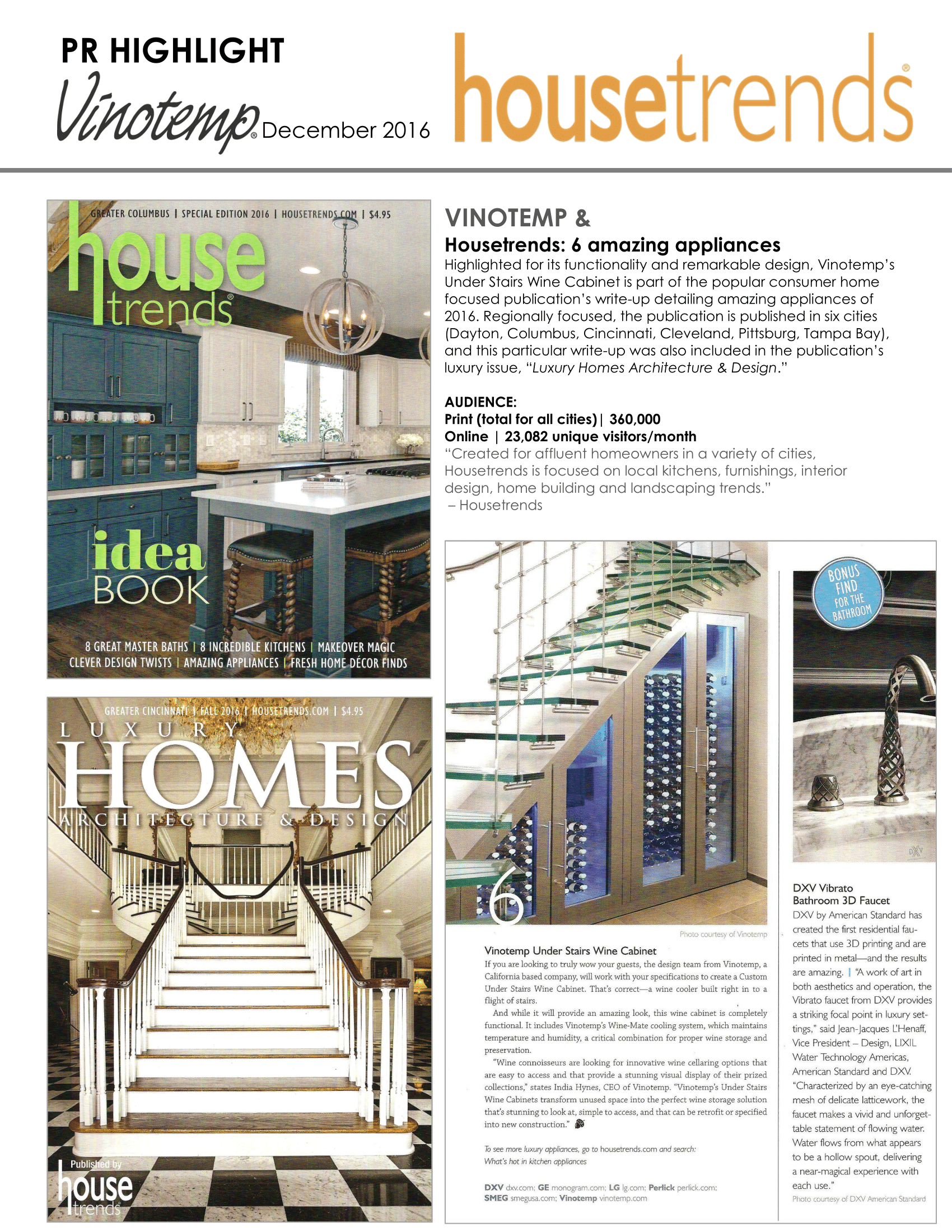 Vinotemp featured in House Trends Magazine