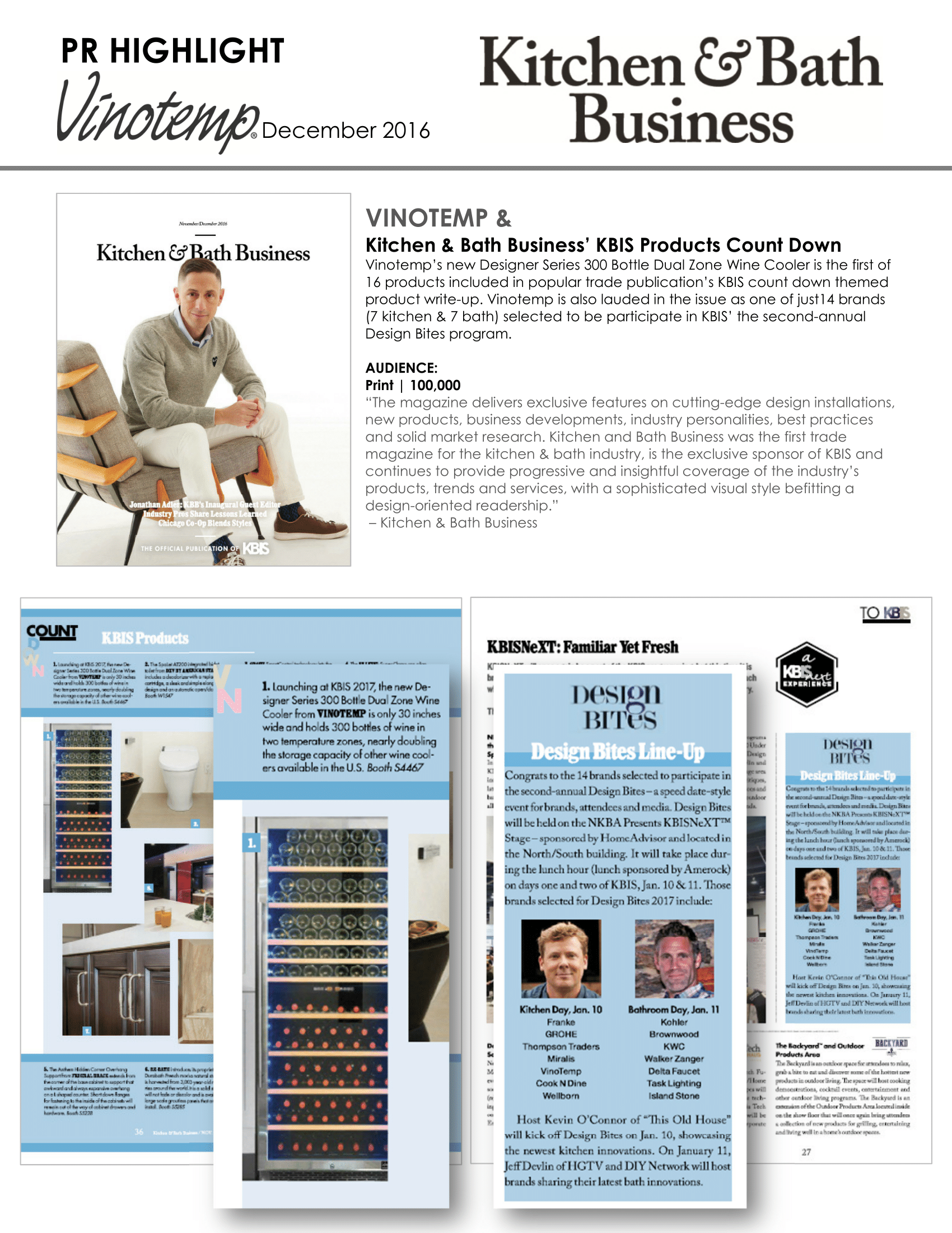Vinotemp featured in Kitchen & Bath Business