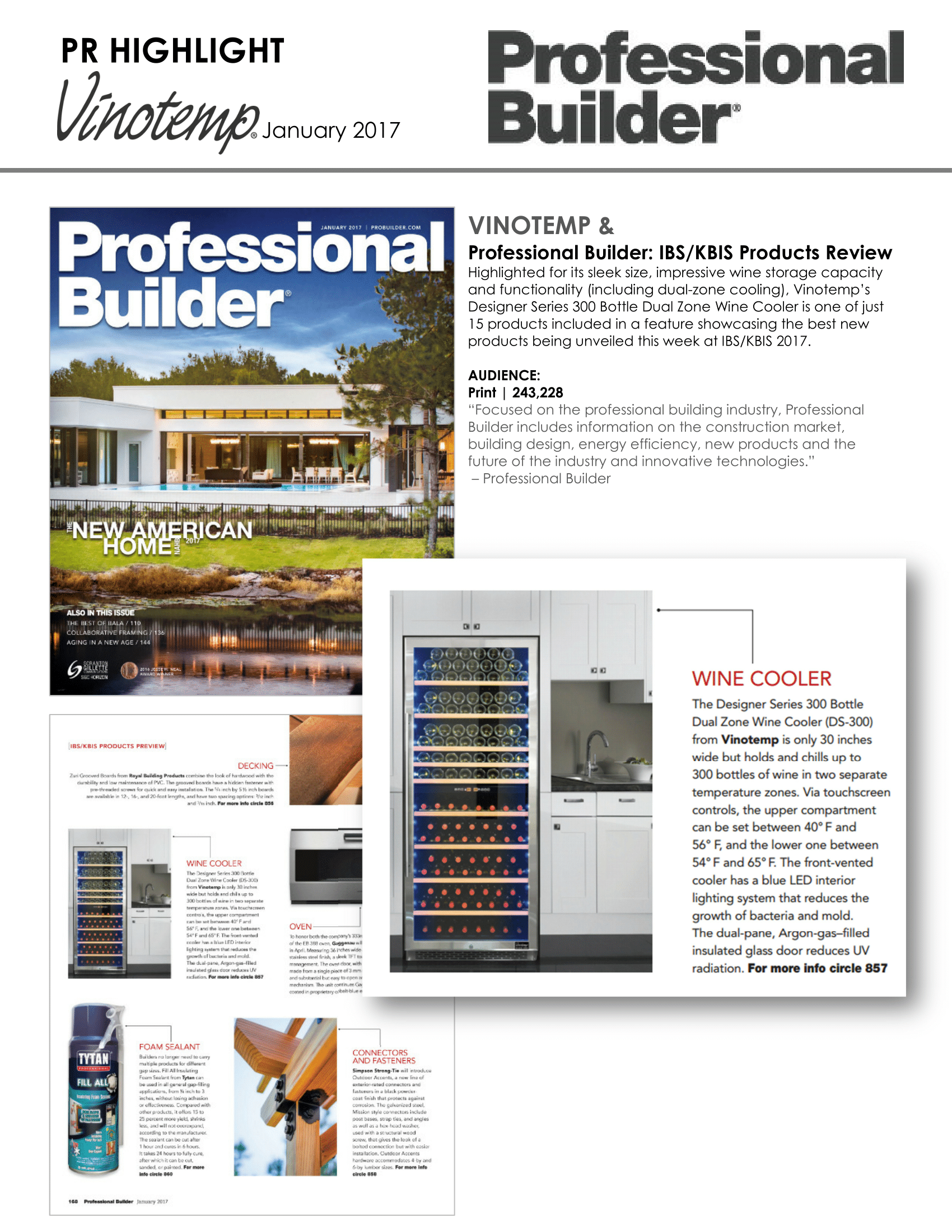 Vinotemp featured in Professional Builder