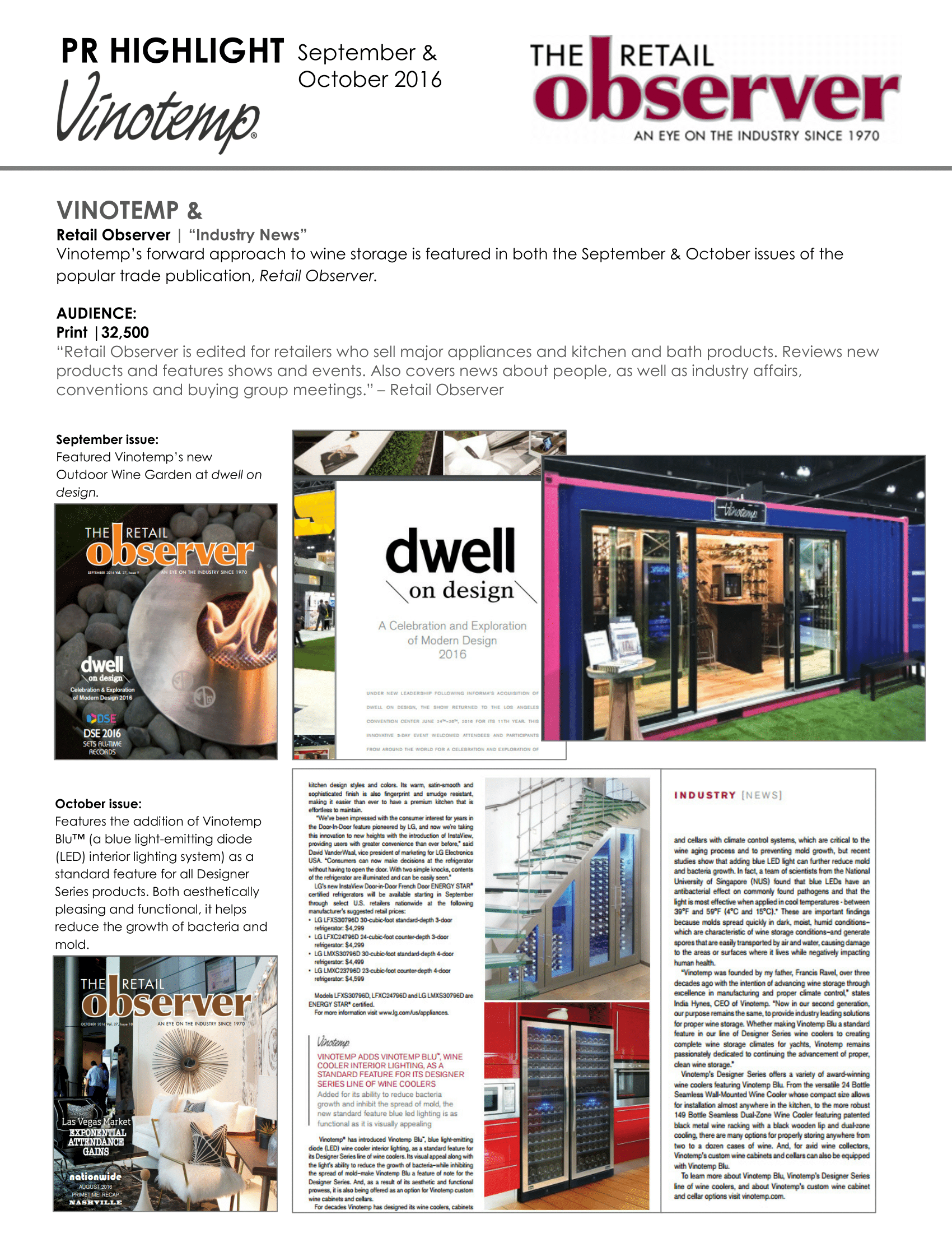 Vinotemp's Wine Garden and VinotempBlu Featured in The Retail Observer