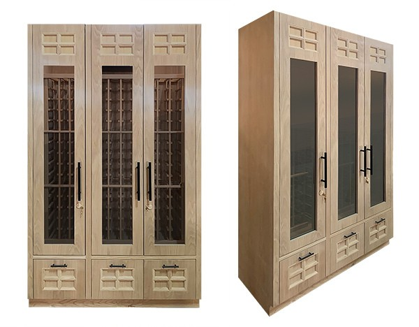 Custom 3-Door<br>Wood and Glass Wine Cabinets Thumbnail 2