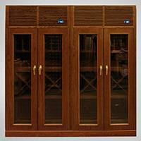 Custom 4-Door Wood & Glass Cabinets Thumbnail 1