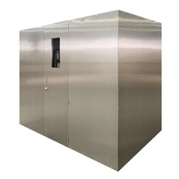 Custom Brushed Stainless Steel Walk-In Wine Cabinet Thumbnail 1