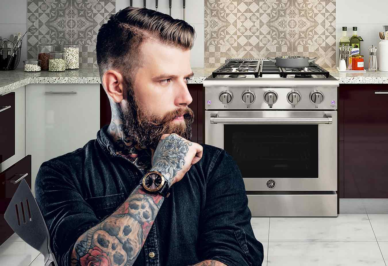 man in front of oven