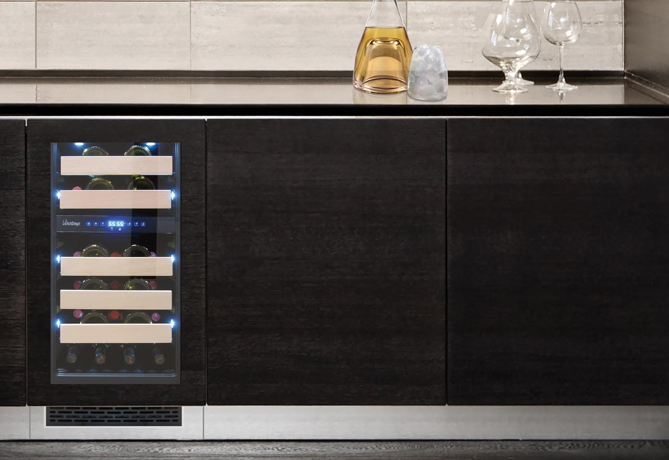 wine cooler installed into cabinet with matching wood trim