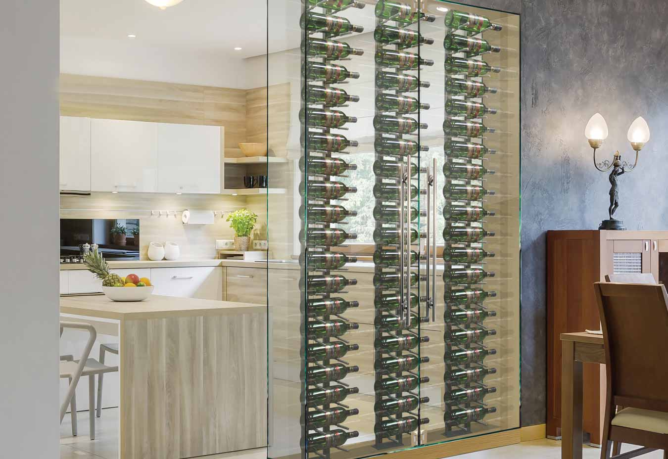 Kitchen wall cut out wine cellar